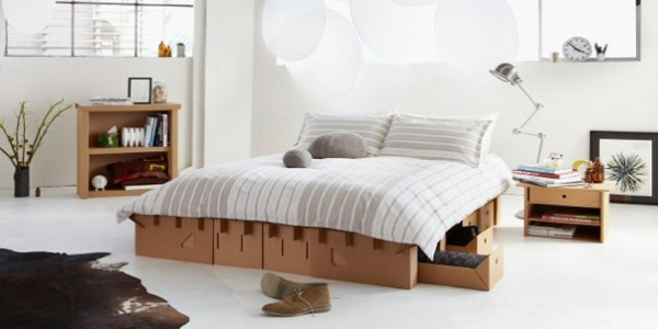 paperclip bed le lit en carton 100 recyclable e tv. Black Bedroom Furniture Sets. Home Design Ideas