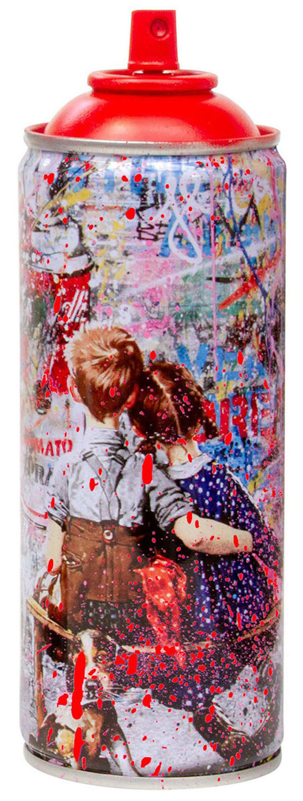 Deodato Art_visual_Mr. Brainwash, Spray Can - Work Well Together, Stencil and spray paint on spray can in alluminium, 6.3x19 cm, 350 euro